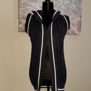 BENETTON Navy Crochet Hood Sleeveless Cardigan
